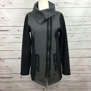 [Nicole Miller] Asymmetrical Zip Moto Jacket Gray